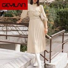 A-line holiday female midi dress  Ruffled three quarter sleeve pleated dress Elegant belt office ladies pocket dress
