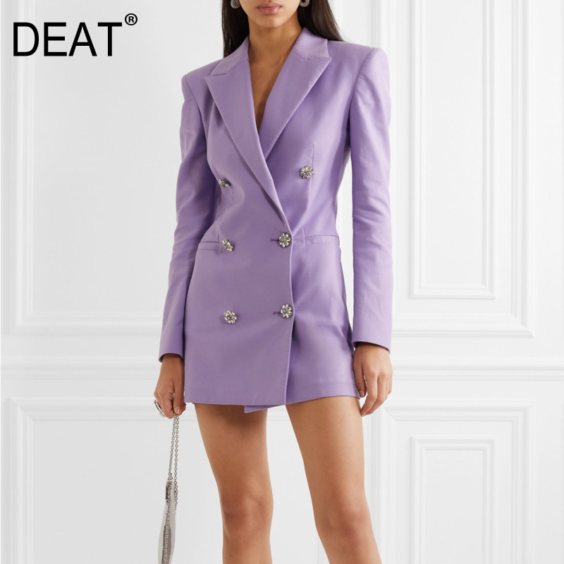 DEAT 2020 New Spring Summer Fashion Streetwear Long Sleeve Rhinestone Double Row Button Suit Purple Blazer Coat Women SB850