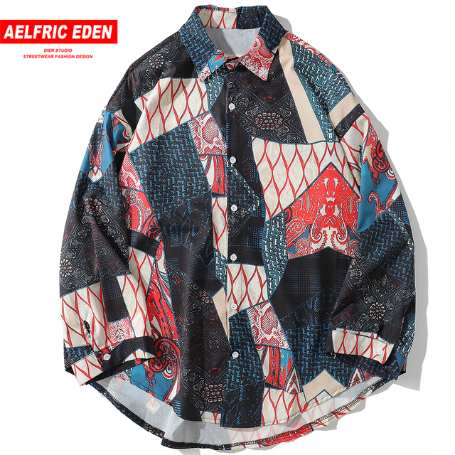 Aelfric Eden Herfst Japanse Ukiyo Geometrische Patchwork Lange Mouw Shirts 2018 Hip Hop Casual Streetwear Mannen Vrouwen Shirt Kj169