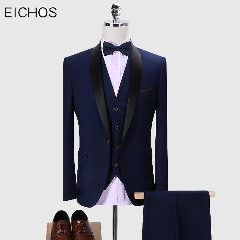 Neue Marke Männer Anzüge 3 Stück Hochzeit Anzüge Für Männer Schal Kragen Mann Anzug Slim Fit Royal Blau Smoking Jacke schwarz Kostüm
