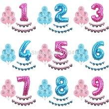 «Минни», «Микки Маус», «День рождения воздушные шары мультфильм Для мальчиков и девочек 1 2 3 4 5 6 7 8 9 день рождения украшения розовые синие воздушные шары с числами