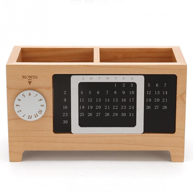 With Calendar Ornaments Desk Organizer Gift Table Practical Container Pen Pencil Holder Two Grids Wooden Storage Box Rectangular