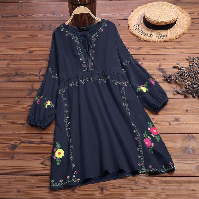 Plus Size Tunic Women's Print Blouse 2019 ZANZEA Bohemian Summer Vestido Casual Long Puff Sleeve Shirt Blusas Female V Neck Robe