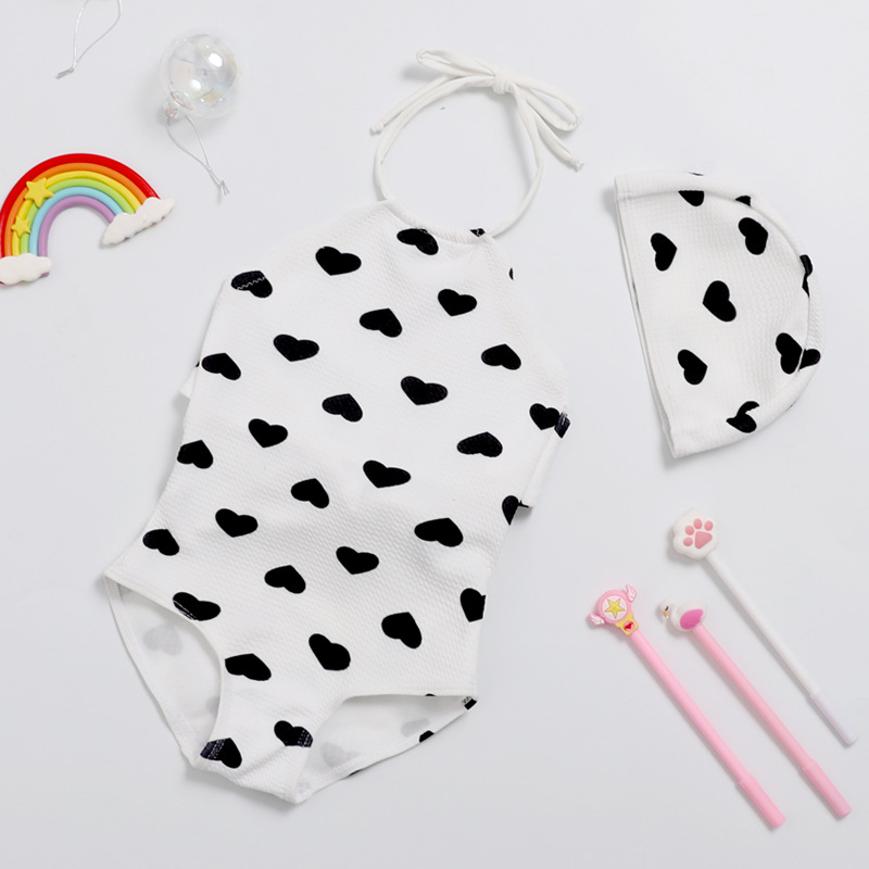 2019 New Style Hot Sales KID'S Swimwear Send Swimming Cap Department Of Neck Triangle Heart Sweet Camisole Hot Springs GIRL'S Sw