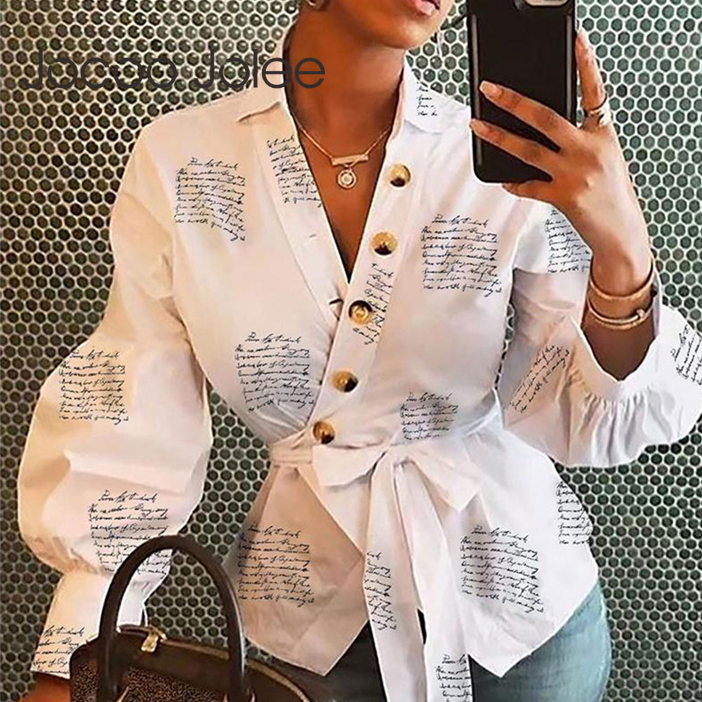 Women Letters Print Blouse Causal Spring Lantern Long Sleeve Shirt V Neck Tops And Blouses With Sashes Streetwear Outfits