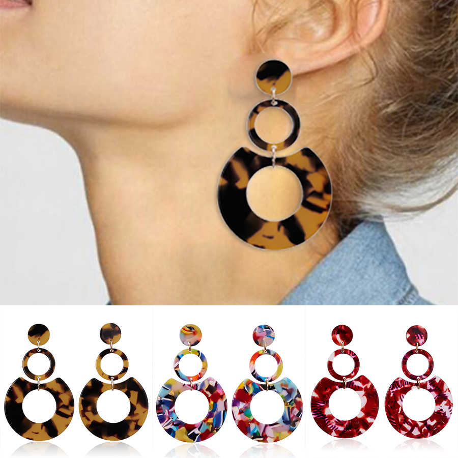 Belleper Leopard Print Acrylic Round Earring Fashion Charm Big Statement Acetate Dangle Earring Women Unique Bohemian Earrings