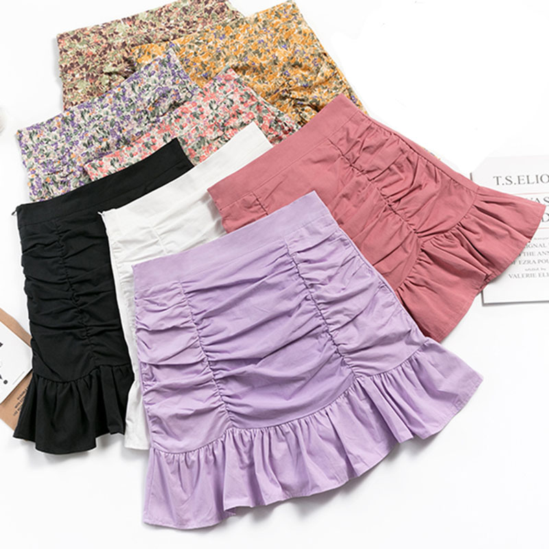 Shintimes Faldas Mujer Moda 2020 High Waist Floral A-Line Skirts Women Summer Korean Sexy Short Kawaii Mini Skirt Woman Clothes
