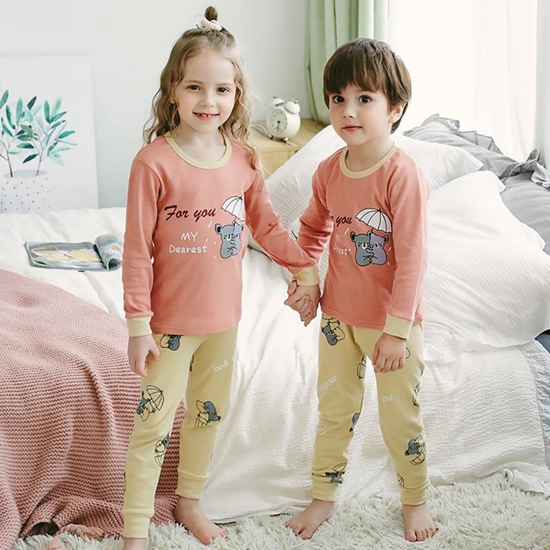 2-10T Meninos Das Meninas Do Bebê Roupas de Outono Filhos Adoráveis Dos Desenhos Animados Impressão Sleepwear Conjunto de Manga Longa Blusa Tops + calças Da Criança Pijama # m