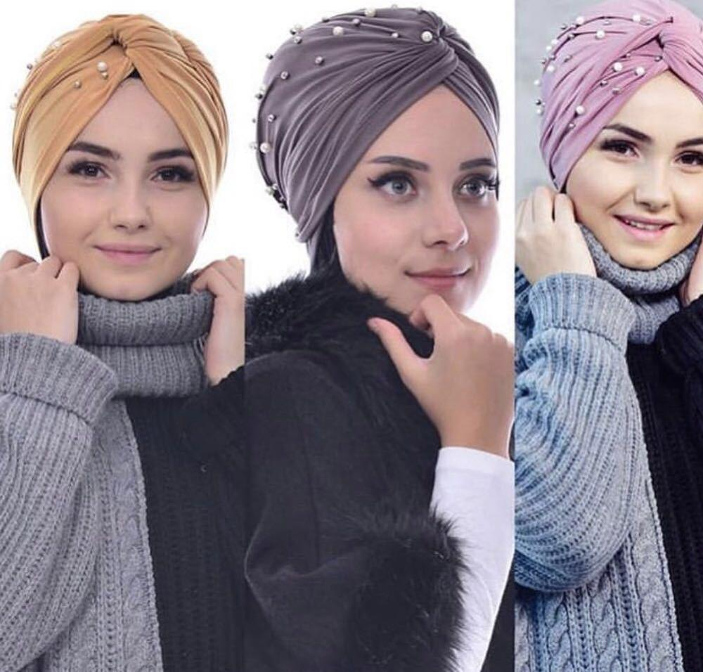 Women Twist Turban Cap Muslim Beading Hijab Scarf  Turbante Mujer India Head Wrap Scarf Stretch Beanie Bonnet Chemo Turbans