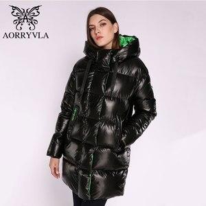 Image 5 - AORRYVLA Новая зимняя Женская куртка Толстая теплая длинная пуховая куртка Хлопковая женская парка Повседневная модная зимняя куртка женская с капюшоном 2020