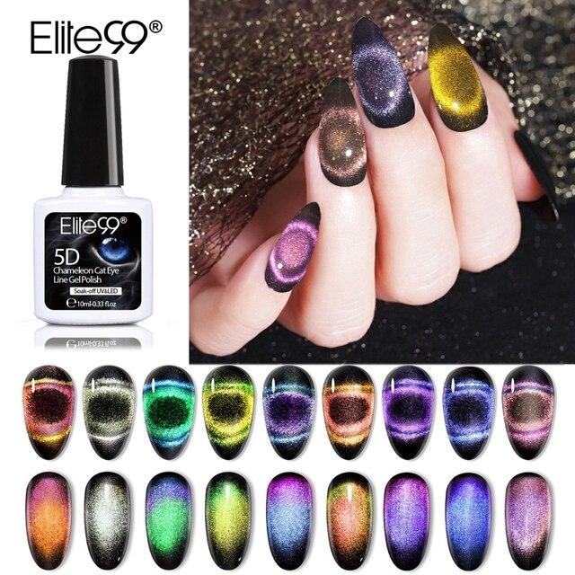 Elite99 10ml 9D Galaxy Katze Auge Nagel Gel Tränken Weg Chameleon Magnetische UV Gel Lack Schwarz Basis Benötigt nail art Gel Lack