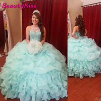 Hot Sale Quinceanera Dresses Ball Gowns Sequin Beading Sweetheart Organza Party Gowns Vestido De 15 Anos 2020 Sweet 16 Dresses