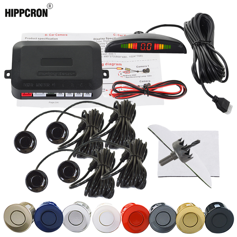 Car Auto Display Parking Sensor kit Front and Back Assistance 4 Reverse LCD Parking Sensors Backup Radar Car Detector System Alarm Systems Security Blue