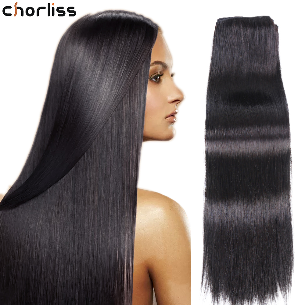 Synthetic Hair Long Straight  Imitate Human Hair 22 Inch Extensions High Protein Chemical Fiber Hair High Temperature For Women