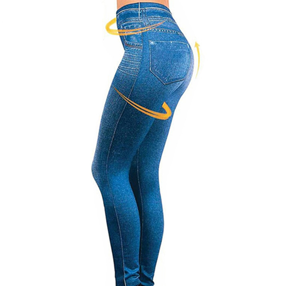 Women Legs Shaping Leggings Fake Jeans Pants Pull-on Skinny Elastic Trousers Warm Jeans Jeans Pants