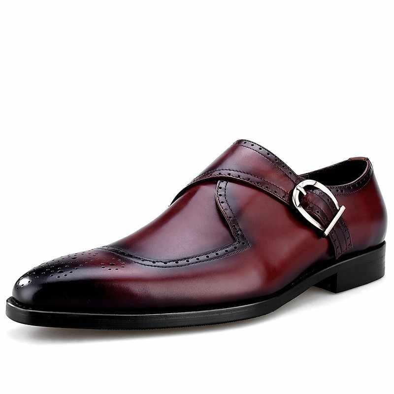 Britse Stijl Business Lederen Heren Kantoor Formele Schoeisel Wees Gesp Handgemaakte Mannelijke Brogue Flats Kleding Schoenen