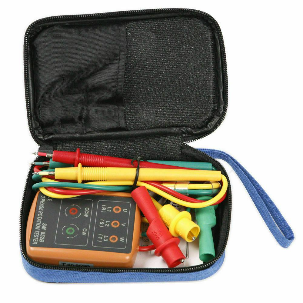 MeterMall SM852B 3 Phase Sequence Rotation Tester LED Indicator Detector Checker Meter(Without Battery)
