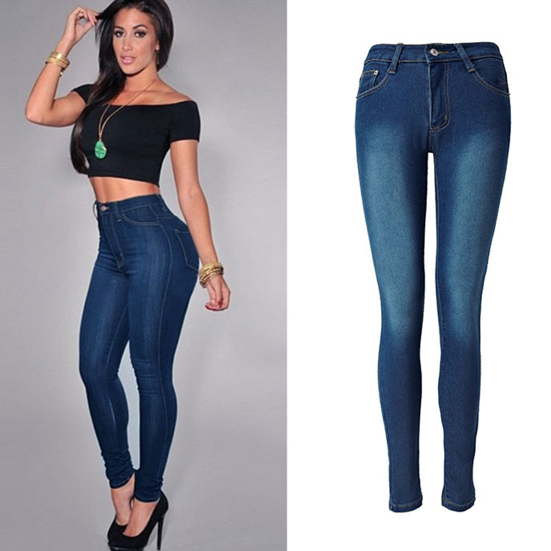 Wish AliExpress  Europe And America Online Celebrity Hot Selling Jeans High-waisted Elasticity Slim Fit Foreign Trade Pencil