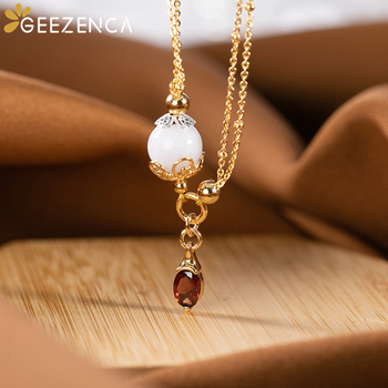 Korea Fashion Silver 925 Sterling Silver Gold Plated Jade Bead Garnet Pendant Necklace Women Trendy O-type Gemstone Necklaces