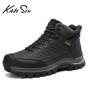Image 4 - 2020 Fashion Winter Mens Leather Plush Warm Snow Boots Outdoor Waterproof Hiking Ankle Boots Casual Working Boots Big Size 47