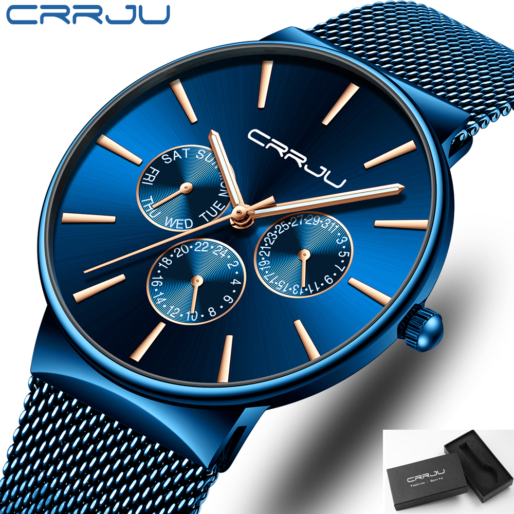 2019 CRRJU Luxury Brand New Men Fashion Color Collocation Casual Dress Slim Quartz Watches With Date Business Stylish Blue Clock