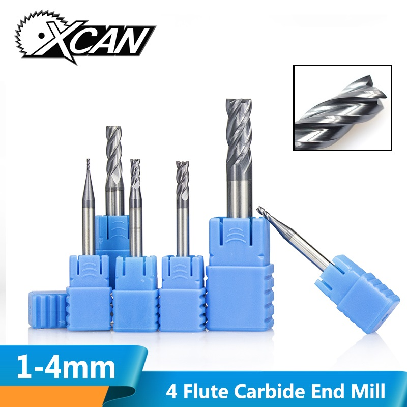 XCAN 1pc 1/2/3/4mm 4 Flute Tungsten Carbide Straight Shank End Mills HRC45 CNC Milling Cutter Spiral End Mill