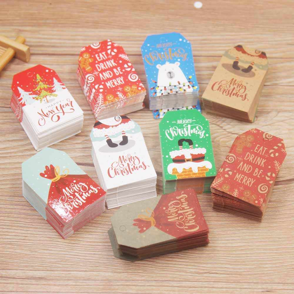 100PCS Christmas Style Kraft /white Paper Tags Handmade DIY rat drink and be merry cute Hang Tag Gift Wrapping Supplies Labels