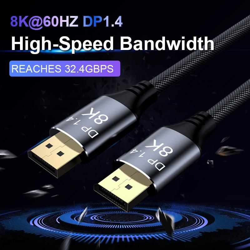 DisplayPort 1.4 Cable 8K 4K HDR 60Hz 144Hz Display Port Adapter For Video PC Laptop TV DP 1.4 DisplayPort Cable