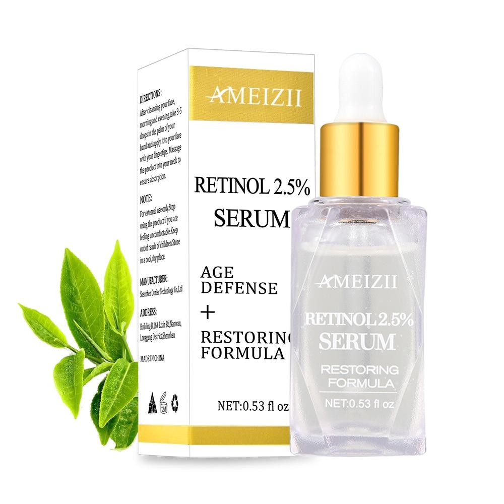 AMEIZII Retinol 2.5% Serum Moisturizer Lifting Firming Repair Hyaluronic Acid Essence Remove Wrinkle Anti Aging Face Skin Care