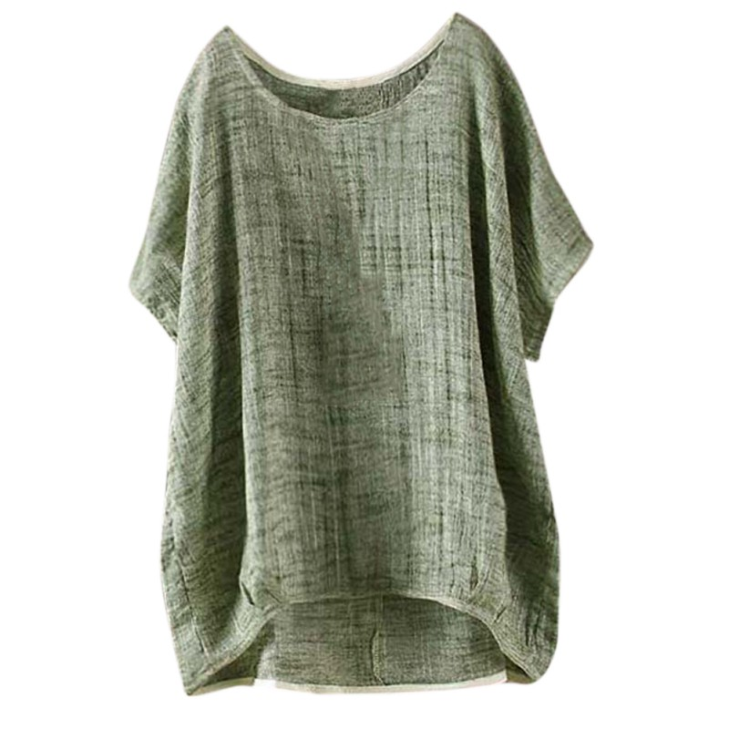 Summer Women Retro O Neck Batwing Sleeve Baggy Party Cotton Linen Top Loose Solid Blouse Casual Shirt