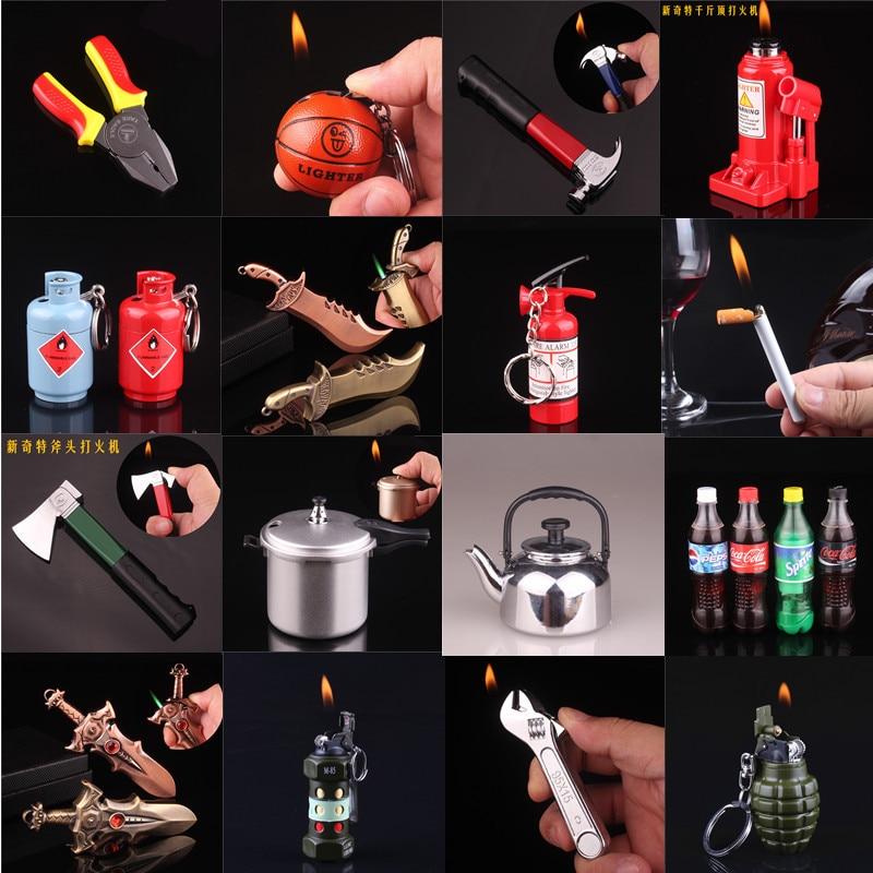 1pcs Home Compact Jet Gas Lighter NO GAS LED Light Butane Lighter Inflated Gas Fire Extinguisher Lighter Bar Metal Fun Lighters
