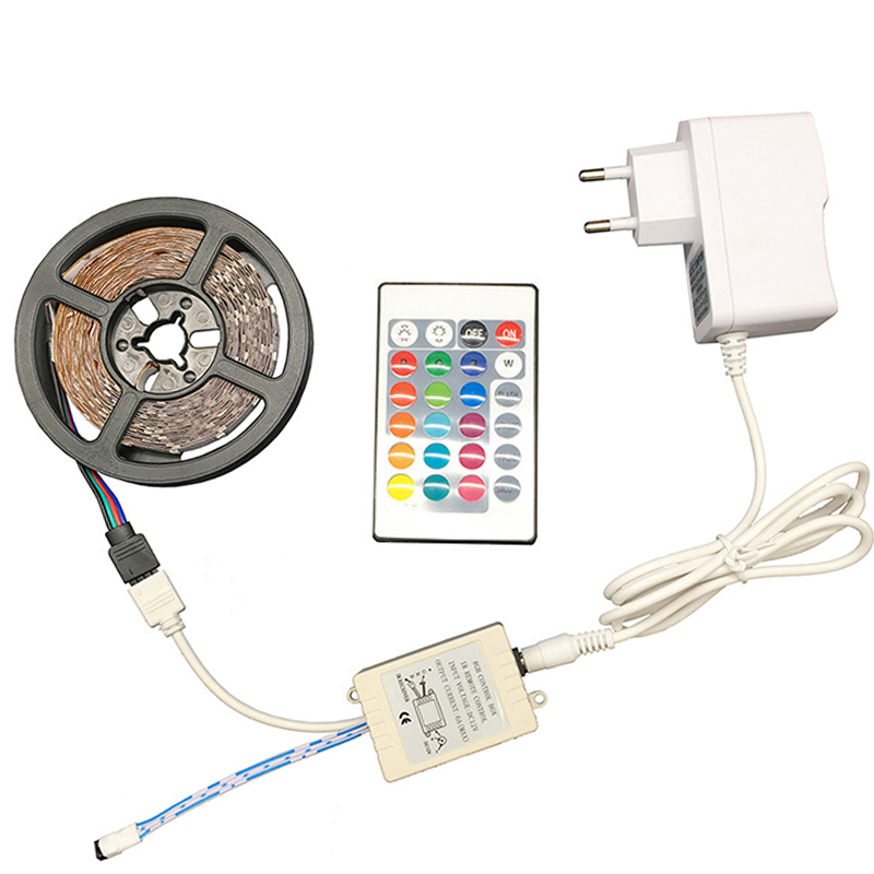 5m LED Strip Light RGB Tape DC 12V 3528 2835 RGB/White/Warm White Flexible Waterproof 300leds 24Key Remote Controller LED Ribbon