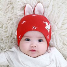 Cute Baby Girl Boy Autumn Winter Hats Lovely Long Ear Cartoon Rabbit Print Cotton Soft Warm for Kid Breathable Hat