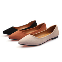 Women Flats Shoes Flock Slip-On Pointed Toe Shallow Loafers Ladies Flats Soft Comfort Boat Shoes Pregnant Woman Work Shoes suojialun 2019 spring women flats pointed toe slip on ballet flat shoes shallow boat shoes woman loafer ladies shoes zapatos