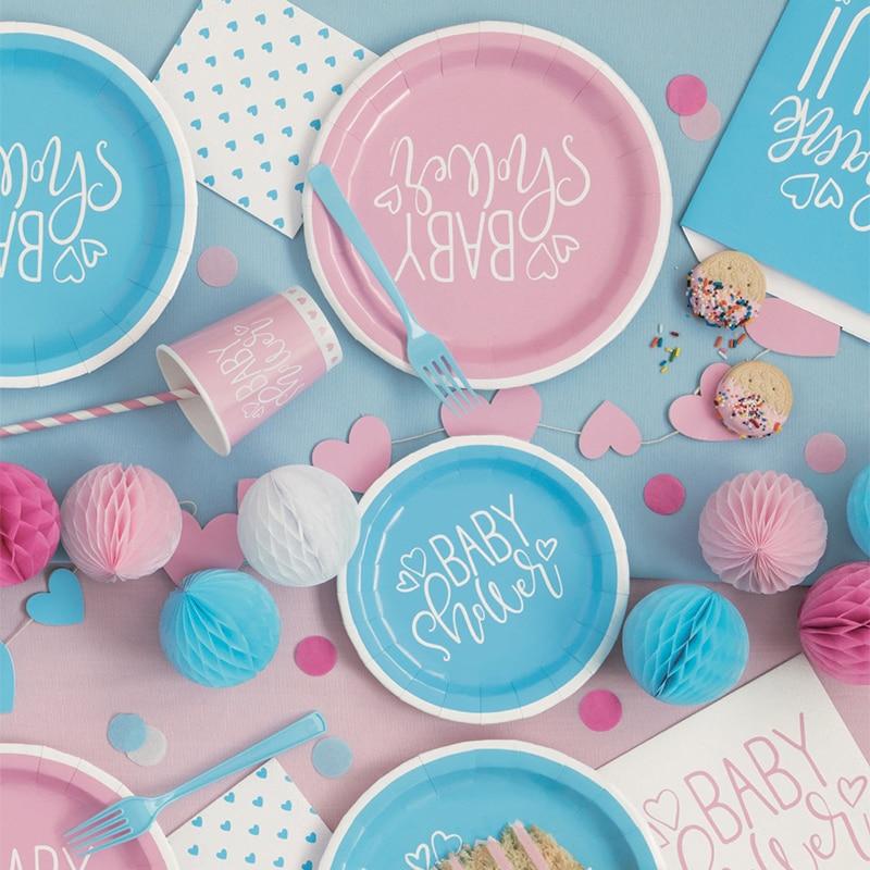 Género revelar decorações de festa azul rosa é um menino menina descartável festa de mesa festa de aniversário decoração do chá de fraldas suprimentos