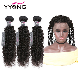 YYong crépus bouclés paquets avec 360 Frontal 4/5 pièces Lot Remy brésilien bouclés cheveux humains avec dentelle frontale fermetures peuvent être colorés