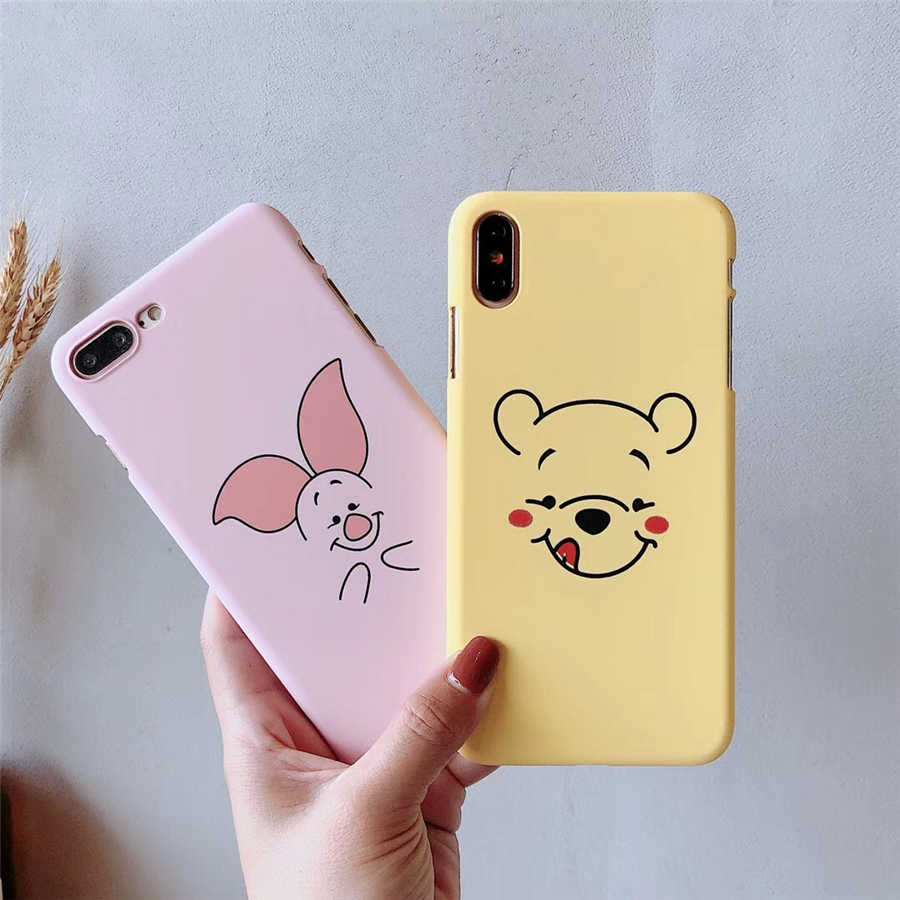 Cute Funny Winnie Pooh Piglet  Phone Cases For iphone XS Max XR 6 6s 7plus 8 plus X Hard Back Cover For iphone 8 Cartoon Case