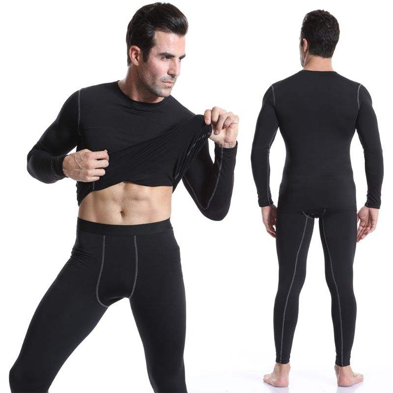 Men Winter Thermal Fleece Underwear Sports Set Cycling Base Layers Fitness Gym Jogging Riding Winter Warm Long Suit