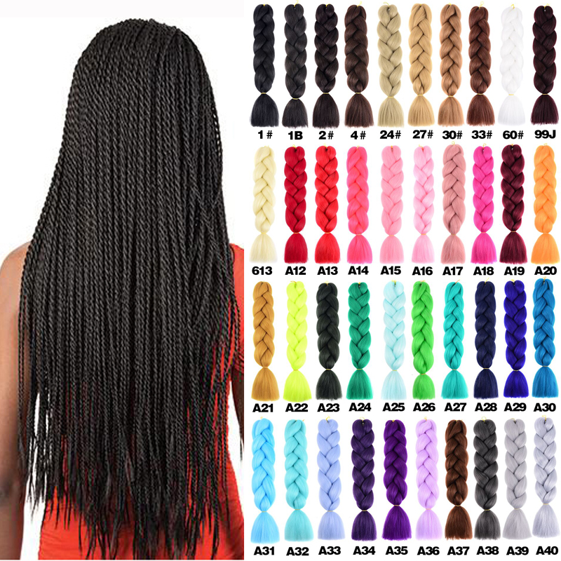 Hair-Extension Braiding-Hair Jumbo Blonde Yaki Pink Green-Grey Two-Tone-Color Long Synthetic