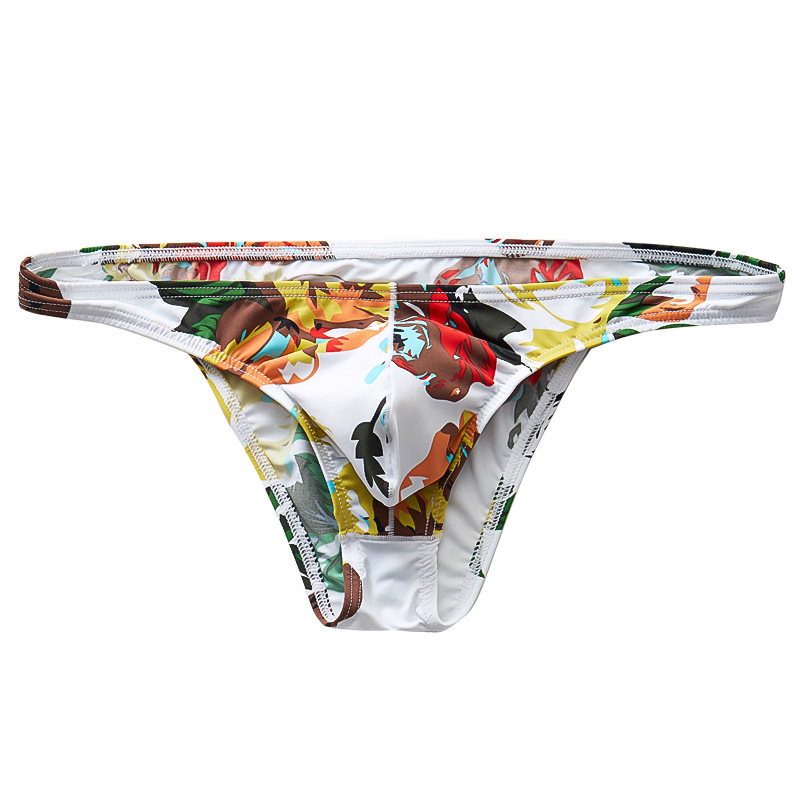 Men's Briefs Sexy Low Waist Print Breathable Briefs Smooth Elastic Ice Silk Underpants Male Underwear Intimates
