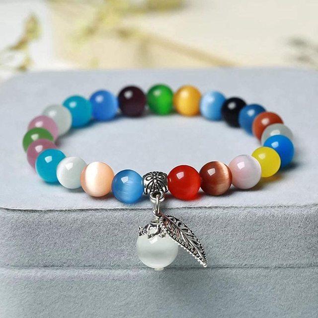 "Natural Moon Stone Beads White Cat Eye Round Loose Beads 4/6/8/10/12mm Jewelry Making DIY Bracelet 15"" Strand 5"