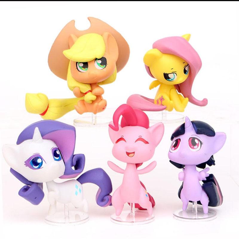 Fine 5Pcs My Little Pony Toy Set Mini Pony Birthday Cake Decoration Pvc Funny Birthday Cards Online Sheoxdamsfinfo