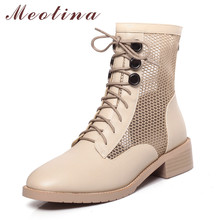 Meotina Ankle Boots Women Shoes Round Toe Block Heels Button Mid Heel Cutouts Short Boots Lace Up Zip Lady Boots Black Size 43 meotina cow suede high heel short boots ankle boots women shoes square toe block heels zipper boots ladies black winter size 43