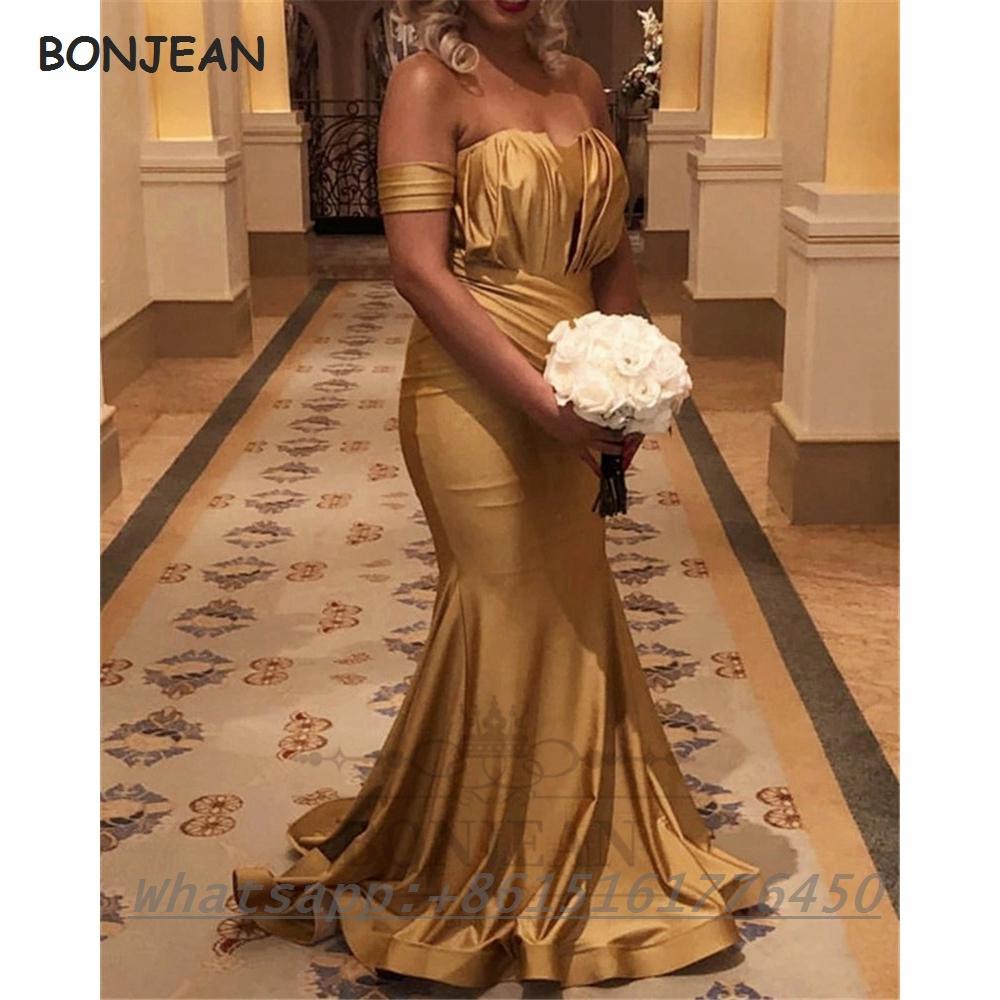 2021 Gold Bridesmaid Dresses Mermaid Black Girls Sweetheart Off The Shoulder Satin South African Bridesmaid Dress