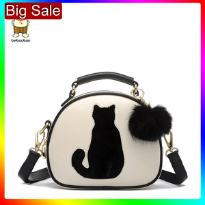 Image 1 - 2020 Women Shoulder Bags Crossbody Bag For Women Handbag PU Leather Full Moon Candy Color Cute Cat With Fur Ball
