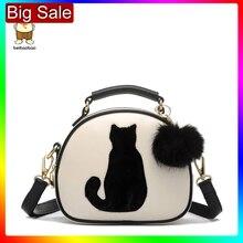 2020 damskie torebki na ramię Crossbody torba dla kobiet torebka PU skóra pełnia księżyca cukierki kolor słodki kociak z futrzana kulka