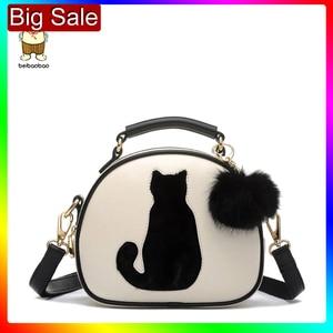 Image 1 - 2020 damskie torebki na ramię Crossbody torba dla kobiet torebka PU skóra pełnia księżyca cukierki kolor słodki kociak z futrzana kulka
