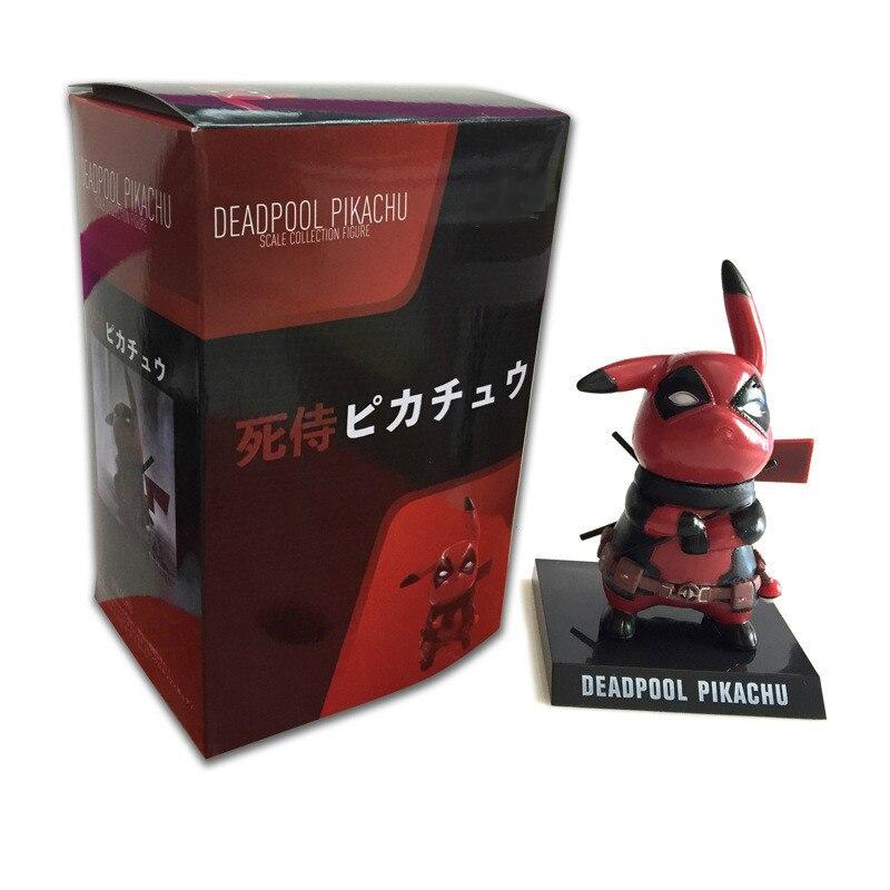 Anime Pikachu Figure Cos Deadpool Figurine PVC Action Figure Pokemon Figures Cartoon Movie Toys Doll With Box 10CM
