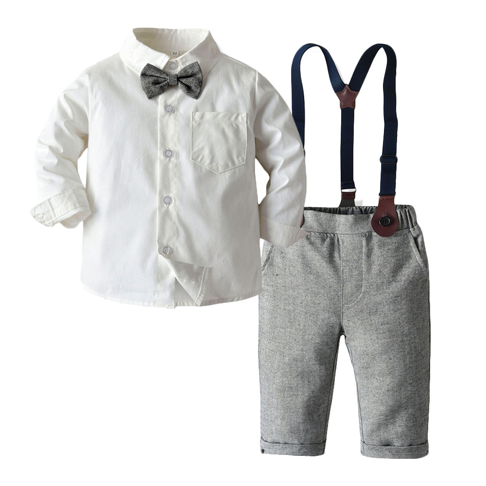 Boy Clothing Set Dress Suit Gentleman White Shirt With Bow Tie + Grey Pants Party Wedding Handsome Kid Clothing For Boys Clothes
