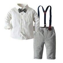 Conjunto de roupa de menino, vestido masculino branco com gravata borboleta + calças cinza, festa de casamento, roupas infantis úteis roupas para meninos